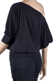 Relaxed Fit Dolman Blouse-Back Top View | SM Dance Fashion