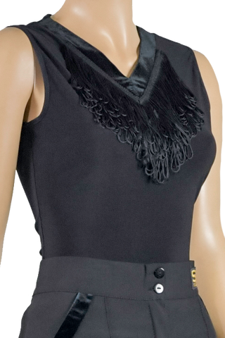 V-Neck Fringe Sleeveless Blouse-Front Top View | SM Dance Fashion