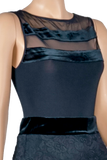 Velour-Mesh Neckline Sleeveless Blouse-Front Top View | SM Dance Fashion
