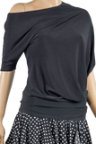 Asymmetric Dolman Blouse-Front Top View | SM Dance Fashion