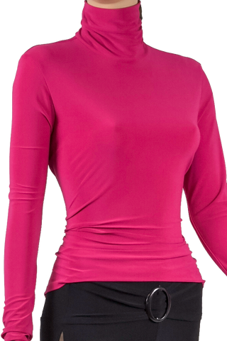 High Collar Long Sleeve Blouse-Front Top View | SM Dance Fashion