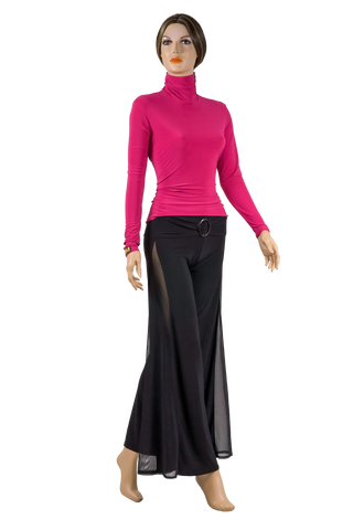 High Collar Long Sleeve Blouse-Front View | SM Dance Fashion