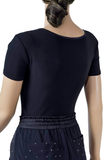 Circular Tier Keyhole Short Sleeve Blouse-Back Top View | SM Dance Fashion