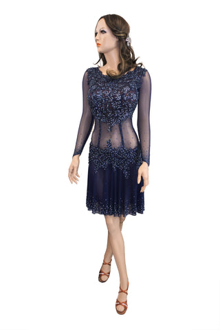 Navy Latin Competition Dress - Where to Buy Dancewear SM Dance Fashion Competition Outfit Costume
