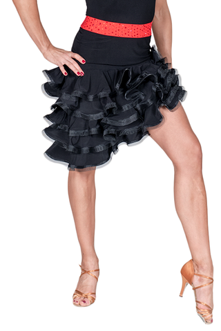 Asymmetrical Layered Frill Latin & Rythm Skirt