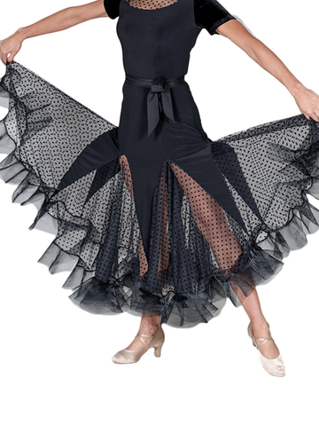 Godet Mesh Polkadot Crinoline Ballroom & Smooth Skirt - Where to Buy Dancewear SM Dance Fashion Competition Outfit Costume