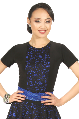 Center Lace Insert Blouse - Where to Buy Dancewear SM Dance Fashion Competition Outfit Costume