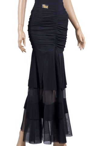 Soft Knit Ruched Ballroom & Smooth Skirt-Front Bottom View | SM Dance Fashion