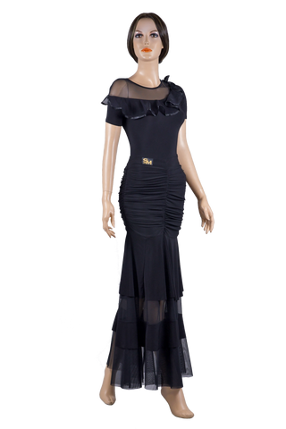 Soft Knit Ruched Ballroom & Smooth Skirt-Front View | SM Dance Fashion