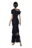 Soft Knit Ruched Ballroom & Smooth Skirt-Back View | SM Dance Fashion