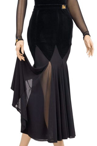 Velour Transparent Gode Ballroom & Smooth Skirt-Front Bottom View | SM Dance Fashion