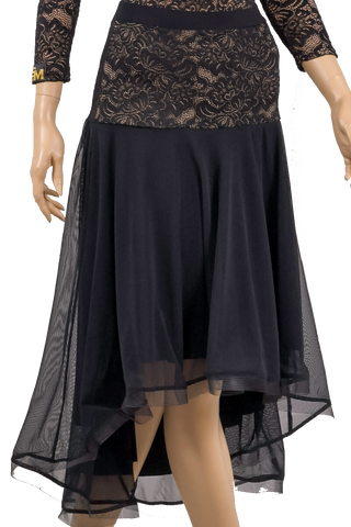 High-Low Lace Flounce Ballroom & Smooth Skirt-Front Bottom View | SM Dance Fashion