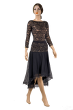 High-Low Lace Flounce Ballroom & Smooth Skirt-Front View | SM Dance Fashion