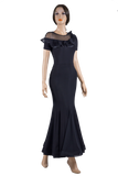 Gode Wedge Mesh Long Ballroom Skirt-Front View | SM Dance Fashion