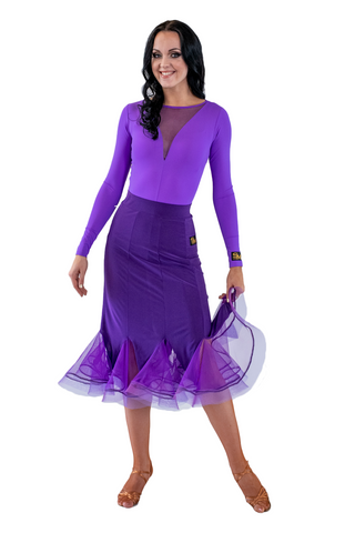 Purple Godet silhouette Ballroom & Smooth Skirt