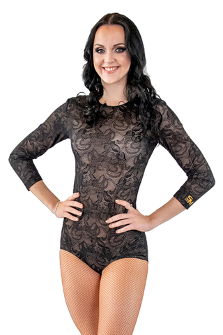Lace Embroidered Dance Bodysuit - Where to Buy Dancewear SM Dance Fashion Competition Outfit Costume