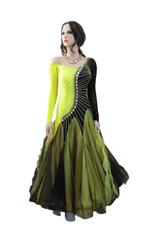 Black/Yellow Ballroom Competition Dress - Where to Buy Dancewear SM Dance Fashion Competition Outfit Costume