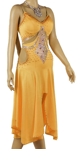 Orange Spaghetti Straps Competition Dress - Where to Buy Dancewear SM Dance Fashion Competition Outfit Costume