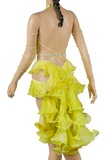 Halter Strap Neckline Sleeveless Flounce Yellow Latin & Rhythm Competition Dress-Back Close-up View | SM Dance Fashion