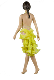Halter Strap Neckline Sleeveless Flounce Yellow Latin & Rhythm Competition Dress-Back View | SM Dance Fashion