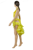 Halter Strap Neckline Sleeveless Flounce Yellow Latin & Rhythm Competition Dress-Side View | SM Dance Fashion