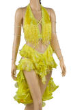 Halter Strap Neckline Sleeveless Flounce Yellow Latin & Rhythm Competition Dress-Front Close-up View | SM Dance Fashion
