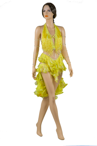 Halter Strap Neckline Sleeveless Flounce Yellow Latin & Rhythm Competition Dress-Front View | SM Dance Fashion