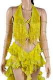 Halter Strap Neckline Sleeveless Flounce Yellow Latin & Rhythm Competition Dress-Front Top View | SM Dance Fashion