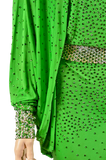 Bat Sleeve Open Hip Green Long Latin & Rhythm Competition Dress-Front Waist Detailed View | SM Dance Fashion