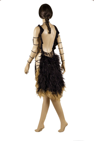 Leopard Print Fringe Fearther Skirt/Tale Latin & Rhythm Competition Dress - Where to Buy Dancewear SM Dance Fashion Competition Outfit Costume