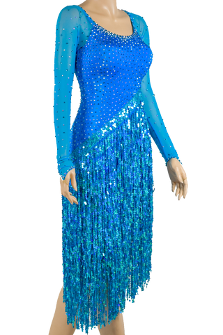 Blue Fringe Competition Latin & Rhythm Dress - Where to Buy Dancewear SM Dance Fashion Competition Outfit Costume