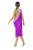 Gathered Purple/Beige Latin & Rhythm Competition Dress-Back View | SM Dance Fashion