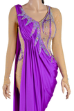 Gathered Purple/Beige Latin & Rhythm Competition Dress-Front Waist View | SM Dance Fashion