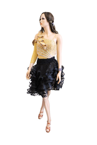 Black/Gold Latin Competition Dress - Where to Buy Dancewear SM Dance Fashion Competition Outfit Costume