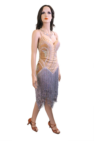 Beige and Silver Latin Competition Dress - Where to Buy Dancewear SM Dance Fashion Competition Outfit Costume