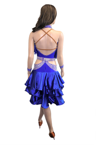 Blue Ruffled Latin Competition Dress - Where to Buy Dancewear SM Dance Fashion Competition Outfit Costume