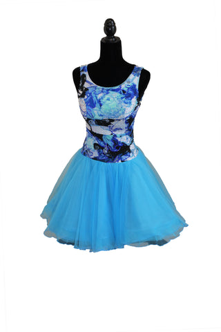 Blue Short Princess Style Latin Competition Dress - Where to Buy Dancewear SM Dance Fashion Competition Outfit Costume