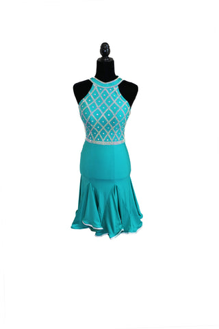 Teal Latin Competition Dress - Where to Buy Dancewear SM Dance Fashion Competition Outfit Costume