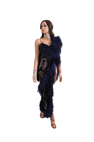 Black/Navy Feathers Latin Competition Dress - Where to Buy Dancewear SM Dance Fashion Competition Outfit Costume