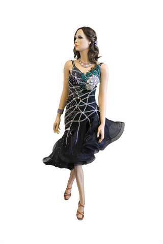 Black Rhinestone Embellished Latin Competition Dress - Where to Buy Dancewear SM Dance Fashion Competition Outfit Costume