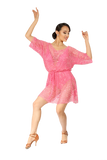 Pink Transparent Relaxed Fit Latin & Rhythm Competition Dress - Where to Buy Dancewear SM Dance Fashion Competition Outfit Costume