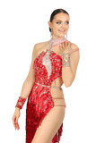 Red High-Neck Asymmetrical Latin Competition Dress - Where to Buy Dancewear SM Dance Fashion Competition Outfit Costume