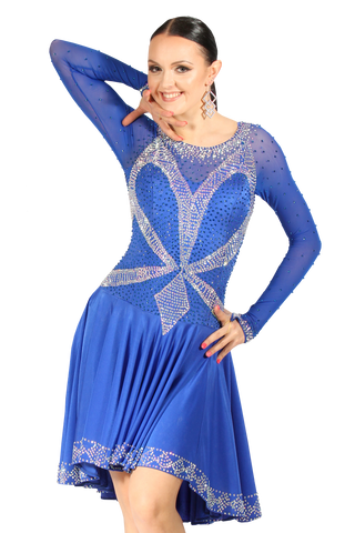 Blue Latin & Rhythm Competition Dress - Where to Buy Dancewear SM Dance Fashion Competition Outfit Costume