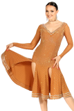 Nude Long Sleeves Latin Competition Dress - Where to Buy Dancewear SM Dance Fashion Competition Outfit Costume