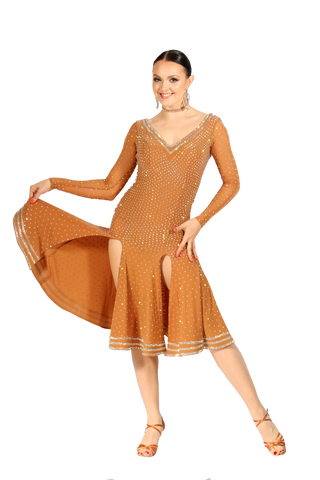 Nude Long Sleeves Latin Competition Dress | SM Dance Fashion