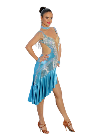 Blue Latin Competition Dress - Where to Buy Dancewear SM Dance Fashion Competition Outfit Costume