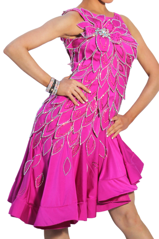 Fuchsia Latin Competition Dress | SM Dance Fashion