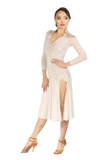 White Long Sleeves Latin Competition Dress - Where to Buy Dancewear SM Dance Fashion Competition Outfit Costume