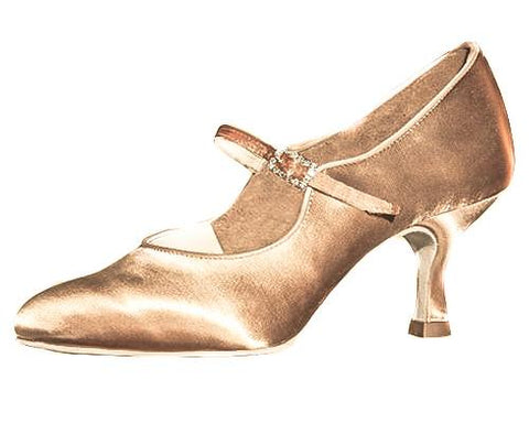 AIDA Dark Tan Satin Basyuk Flare Heel-Side View | SM Dance Fashion