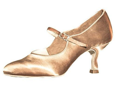 AIDA Dark Tan Satin Basyuk Slim Heel-Side View-SM Dance